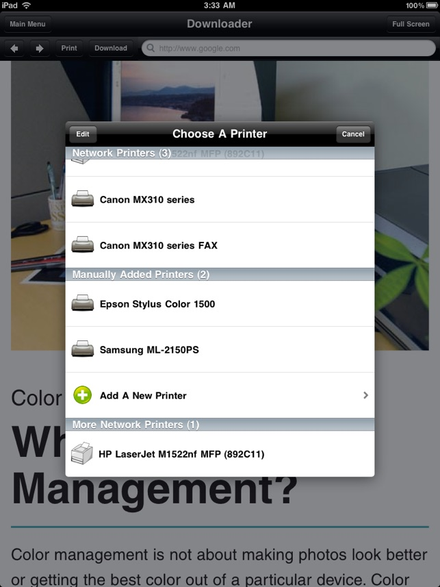how to manually add a printer to ios hp
