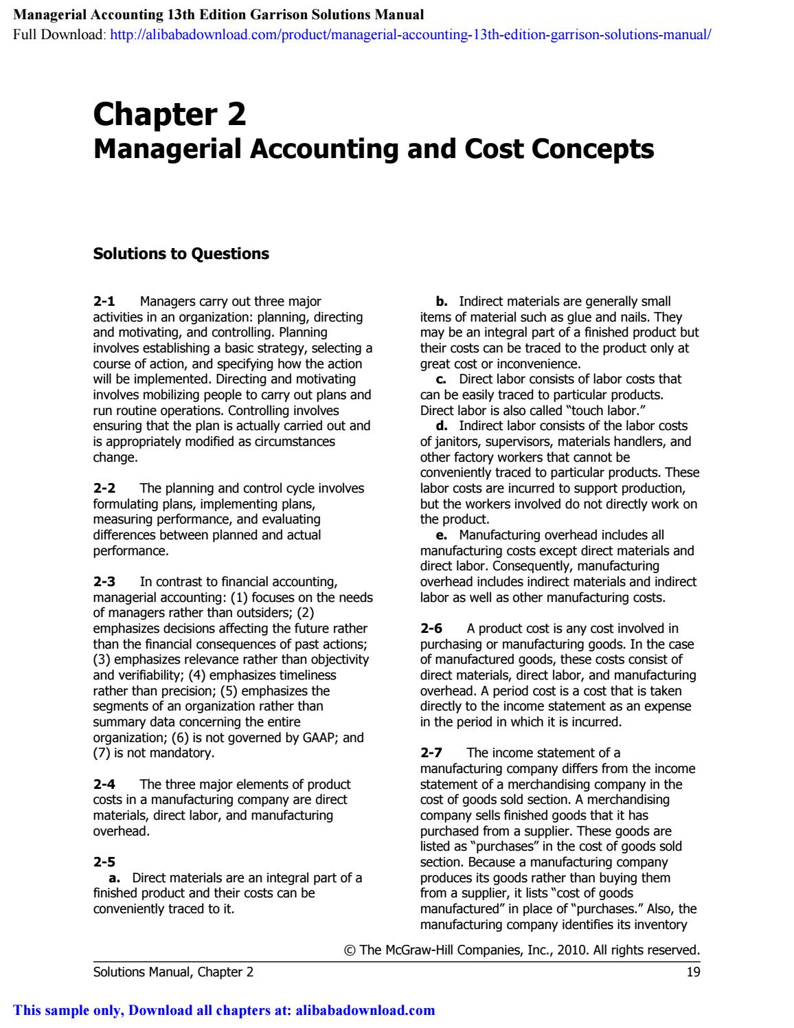 solution manual managerial accounting garrison 14th edition